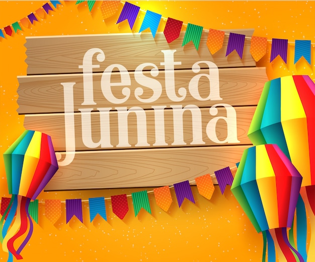 Festa junina illustration mit party-flaggen und papierlaterne