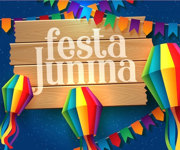 Festa junina illustration mit partyflaggen