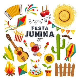 Festa junina illustrationssatz