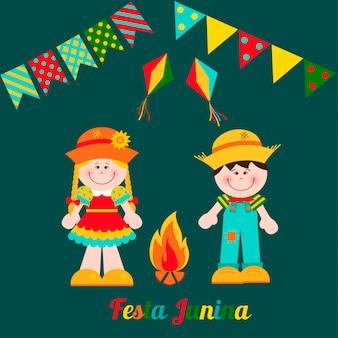 Festa junina karte mit jungen und mädchen.