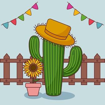 Festa junina karte mit kaktus und sonnenblume