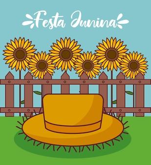 Festa junina karte mit strohhut und sonnenblumen