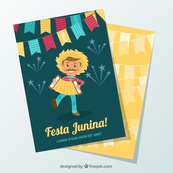 Festa junina karten mit schönem charakter