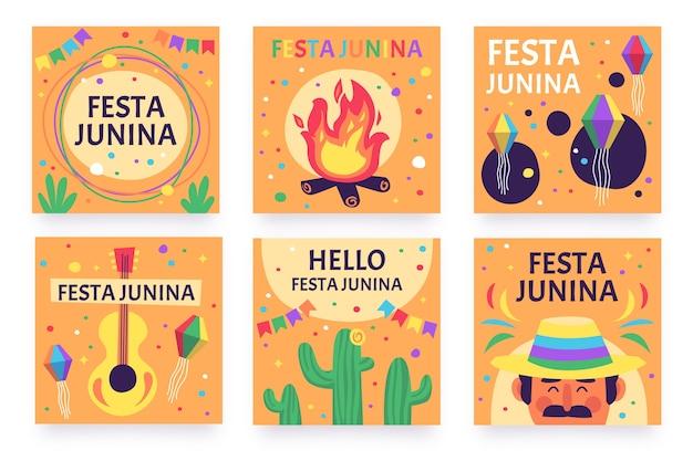 Festa junina kartensammlung vorlage design