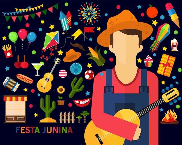 Festa junina konzept hintergrund. flache symbole