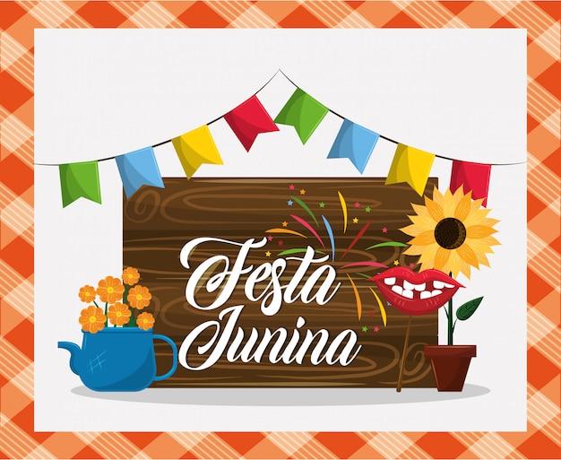 Festa junina konzeptkarikatur