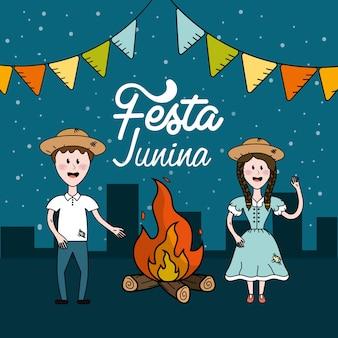 Festa junina mit brasilianischen menschen und holzfeuer