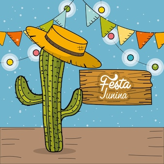 Festa junina mit dekorativem design des kaktus und des hutes