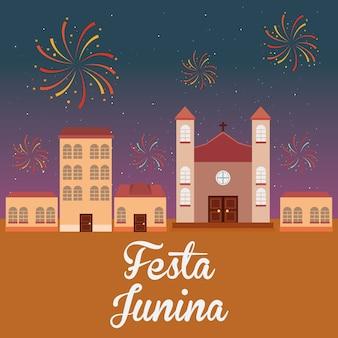 Festa junina mit feuerwerk in der stadt