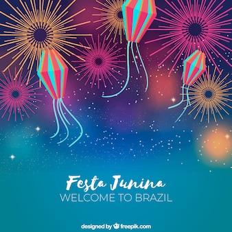 Festa junina mit feuerwerk