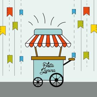 Festa junina mit flaggen partei mit fast-food-auto