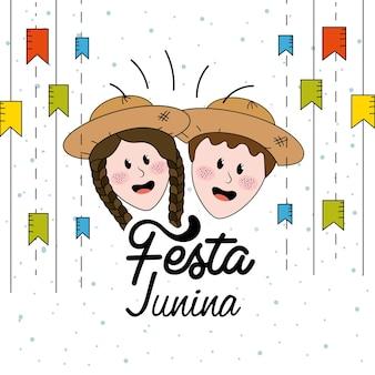 Festa junina mit flaggenparty und brasilianischem kopf mit hut