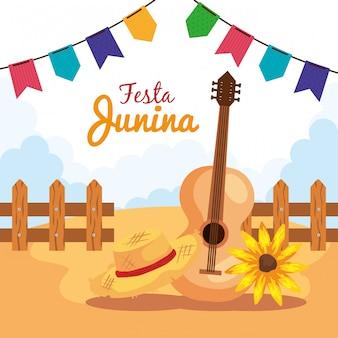 Festa junina mit gitarre und dekoration, brasilien juni festival, feier dekoration