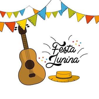 Festa junina mit gitarre und hut mit flaggenparty