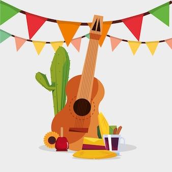 Festa junina mit gitarre und in verbindung stehenden ikonen über weißem hintergrund