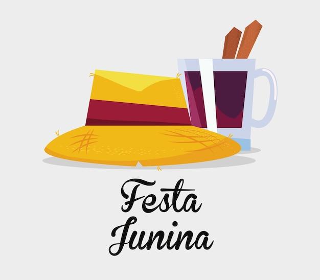 Festa junina mit hut- und eisbahnikone über weißem hintergrund