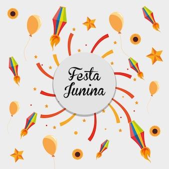 Festa junina mit in verbindung stehenden ikonen herum über weißem hintergrund