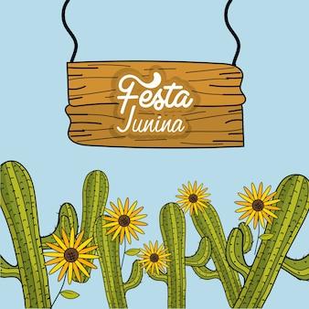 Festa junina mit kakteen und sonnenblumen