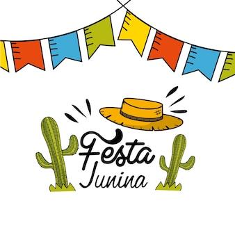 Festa junina mit partyflaggen, kakteen und hut