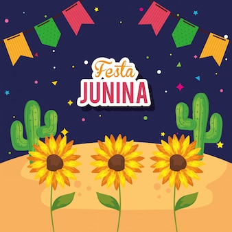 Festa junina mit sonnenblumen und dekoration, brasilien juni festival illustration