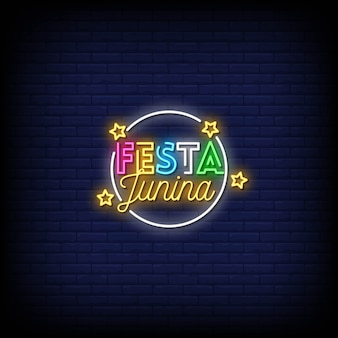 Festa junina neon signs style text