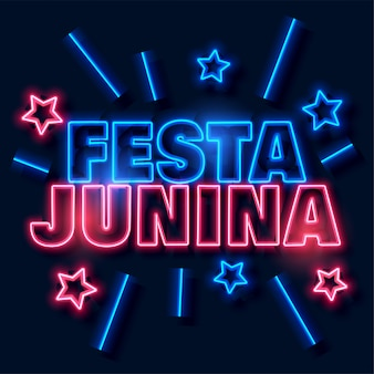 Festa junina neon text