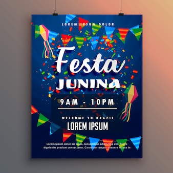 Festa junina party flyer plakat mit konfetti und girlande dekoration