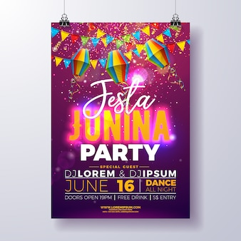 Festa junina party plakat vorlage design mit fahnen und papierlaterne