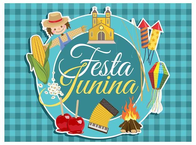 Festa junina schriftzug und elemente