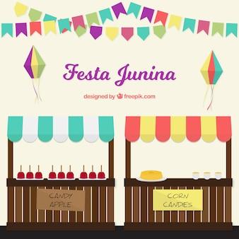 Festa junina typische lebensmittel hintergrund