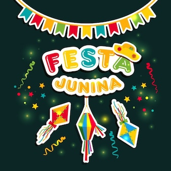 Festa junina vektor stikers illustration auf dunklen