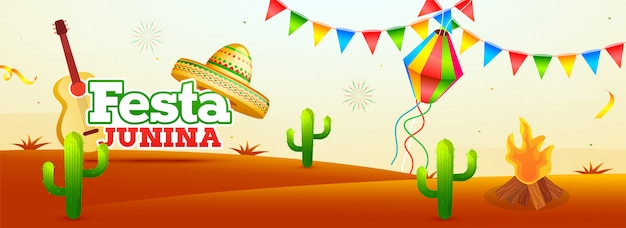 Festa party header banner oder poster design für festa junina cele