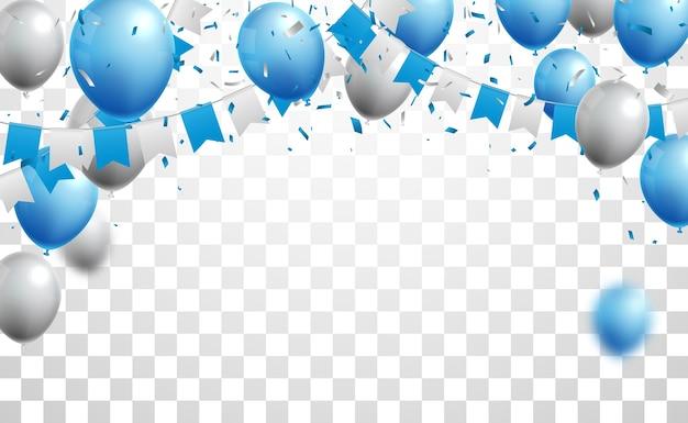 Festbanner mit blauen und silbernen luftballons
