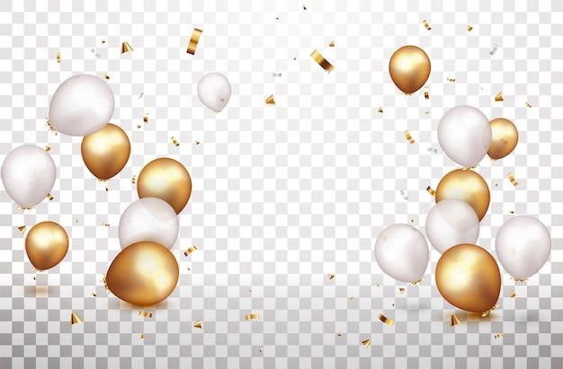 Festbanner mit goldenen, silbernen luftballons und konfetti
