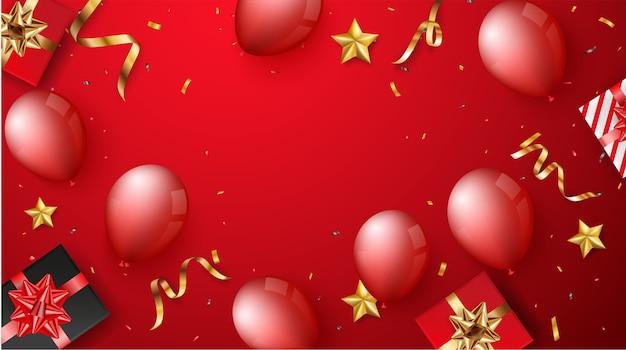 Festbanner mit roten luftballons und geschenkbox