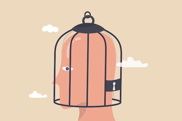 Feste denkweise, negative emotionen weigern sich, etwas neues zu lernen, ängstliche oder mentale sperre, unterdrückungs- oder abneigungsstörungskonzept, vogelkäfigsperre über depressivem ängstlichen menschlichen gehirn.