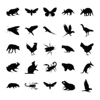 Feste piktogramme von tieren