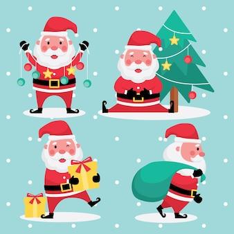 Feste sammlung der weihnachts- und neujahrsfeature kennzeichnen bildersatz des weihnachtsmanns mit weihnachtsbaum, gelbem geschenk und grüner tasche auf hellblauem hintergrund