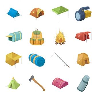 Festgelegte ikone der zelt- und lagerkarikatur. gesetzte ikone der lagerfeuer-reise lokalisierten karikatur. zelt und lager.
