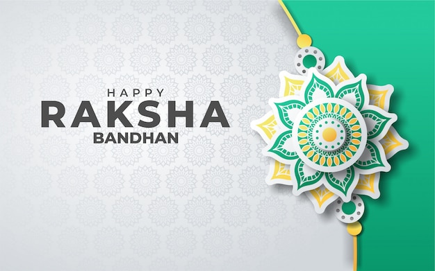 Festival der raksha bandhan grußkarte im papierstil