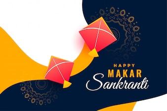 Festival Hintergrund für Makar Sankranti mit fliegenden Drachen