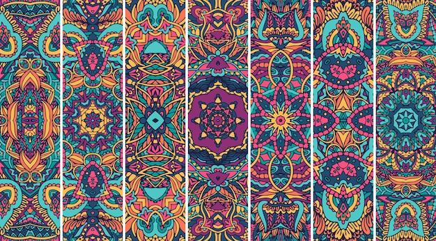 Festival mandala muster gesetzt mit hellen farbe psychedelischen druckdesign.