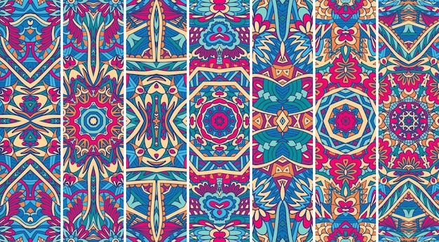 Festival mandala muster set psychedelisches druckdesign. ethnische stammes-geometrische banner-sammlung
