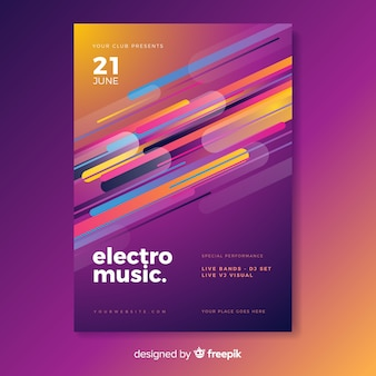 Festival-plakatschablone der elektronischen musik