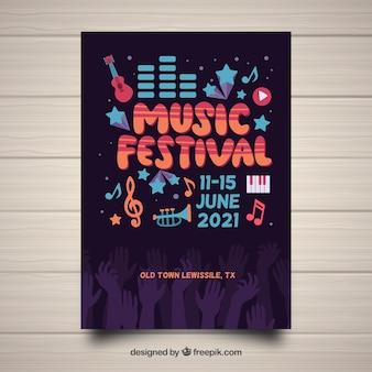 Festival poster vorlage mit handgezeichneten instrumenten