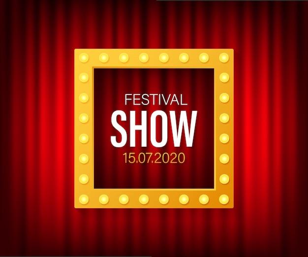 Festival show poster mit spotlight. konzert, party, theater, kino.