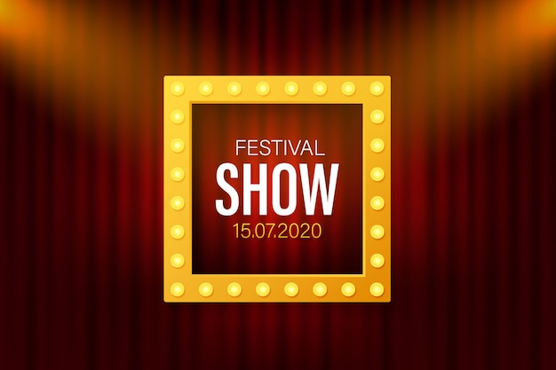 Festival show poster mit spotlight. konzert, party, theater, kino