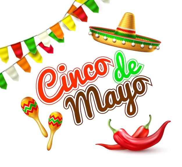 Festival traditioneller mexikanischer feiertagsentwurf realistischer sombrerohut