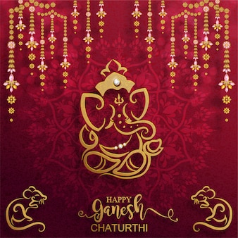 Festival von ganesh chaturthi mit golden glänzendem lord ganesha gemustert und kristallen auf papierfarbe hintergrund.