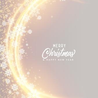 Festivalkartendesign der frohen weihnachten mit schneeflocken und lichteffekt
